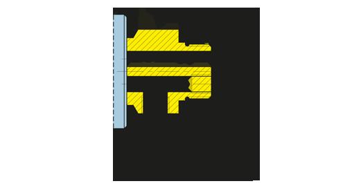 Immagine Girol, disegno tecnico del giunto rotante della serie D, versione filettata