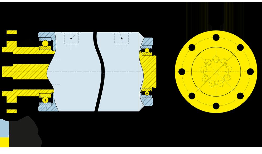 Disegno tecnico del giunto rotante della serie IH